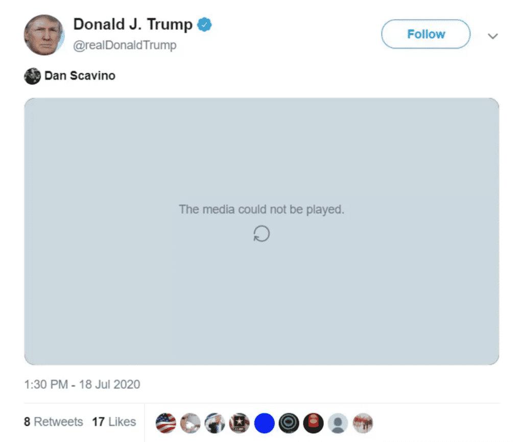 Trump tweet disabled